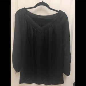 Iman Black Satiny Long Sleeve V-Neck Small Tunic